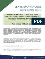DISCURSO DEL PRESIDENTE MORALES PARA EL INFORME DE GESTIÓN FUERZA DE TAREAS CONJUNTA  16-12-13