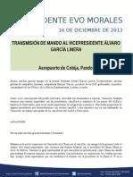 DISCURSO DEL PRESIDENTE MORALES EN LA TRANSMISIÓN DE MANDO AL VICEPRESIDENTE  16-12-13