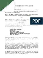 Deed of Absolute Sale of Motorvehicle