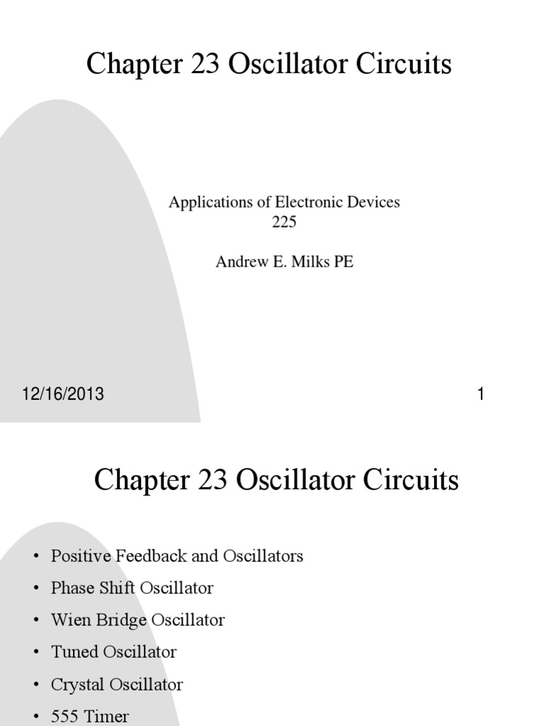 Ch23 Oscillator Circuits1 Electronic 555 50 Duty Cycle Circuit Schematic Diagram Telecommunications Engineering