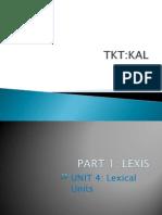 TKT KAL Unit 1 Part 4 Lexical Units