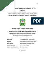 Diagnostico Del Sistema de Recoleccion de Residuos Solidos en La Zona Urbana de La Ciudad de Huaraz