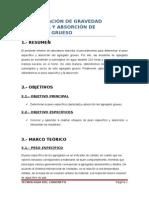 DETERMINACIÓN DE GRAVEDAD ESPECÍFICA Y ABSORCIÓN DE AGREGADO GRUESO