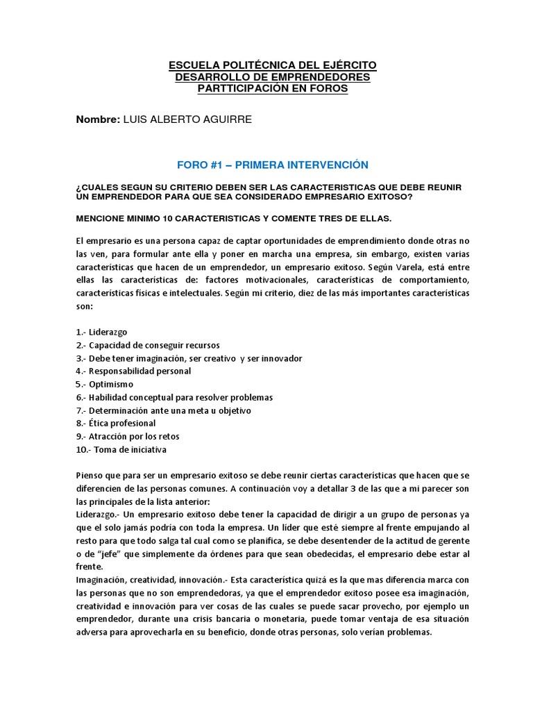 Foros 1 Y 2 Luis Aguirre Entrepreneurship Behavior