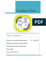 Cuestionario Unidad 2 Telecomunicaciones