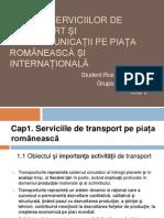Analiza serviciilor de transport și telecomunicații pe