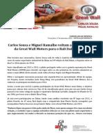 COMUNICADO DE IMPRENSA | CARLOS SOUSA - APRESENTAÇÃO GREAT WALL DAKAR 2014