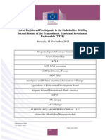 List of Registered Participants to the Stakeholder Briefing Second Round of the Transatlantic Trade and Investment Partnership (TTIP) Brussels
