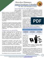 Boletín DDHH No. 6 - Tejiendo Justicia Social por Colombia. Diciembre 15 de 2013