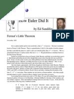 How Euler Did It 01 Fermats Little Theorem