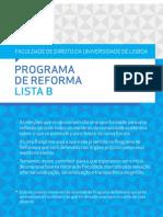 Programa de Reforma - Lista B (versão resumida)
