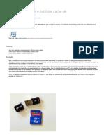 Instalar, desconectar e habilitar cache de memórias USB e SD