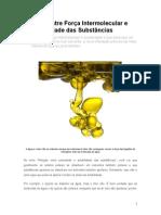 Relação entre Força Intermolecular e Solubilidade das Substâncias