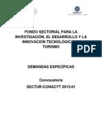 Demandas SECTUR Convocatoria 2013