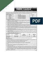NMDC Employment Notification Advt