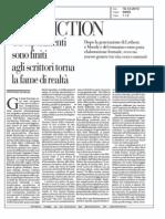 Post fiction e gli scrittori con fame di realtà, Cristiano De Majo su la Repubblica