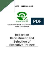 Recruitmenmt of Executive Trainee
