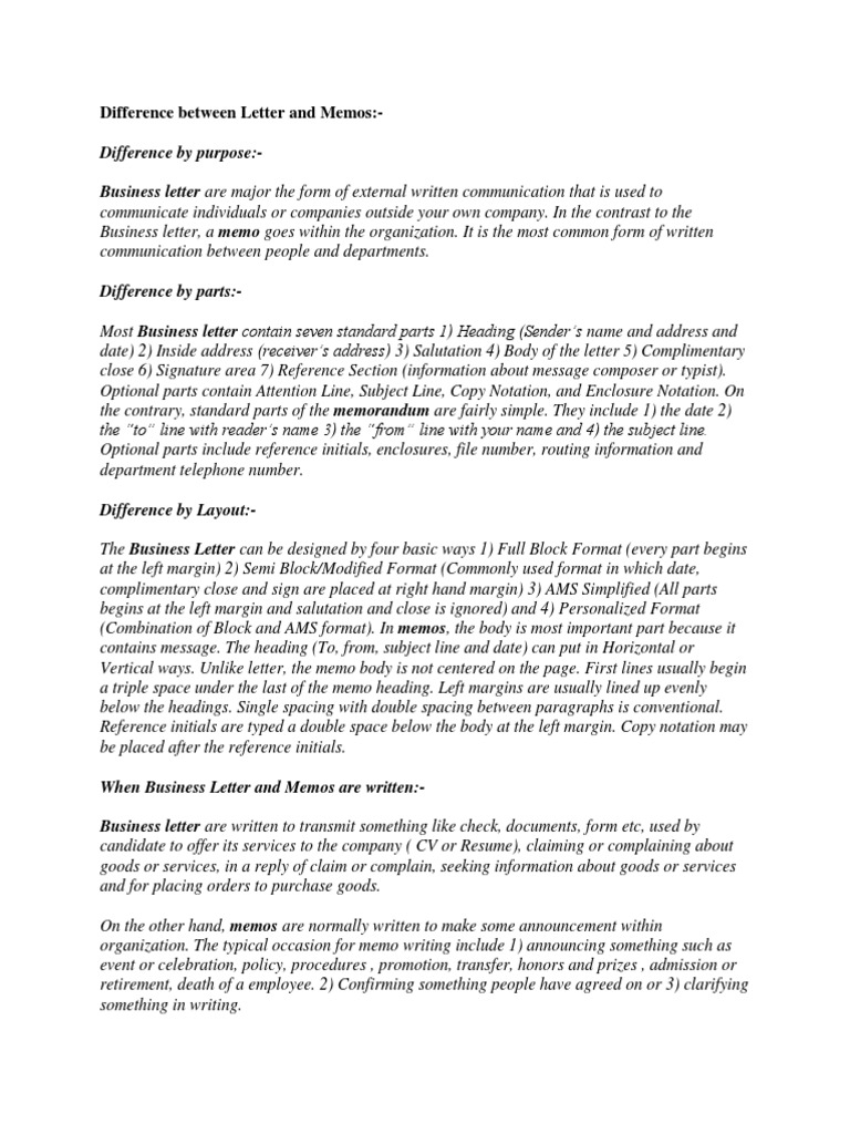 Difference Between Letter And Memos  Memorandum  Writtenmunication