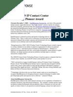 TMC's 2009 IP Contact Center Technology Pioneer Award