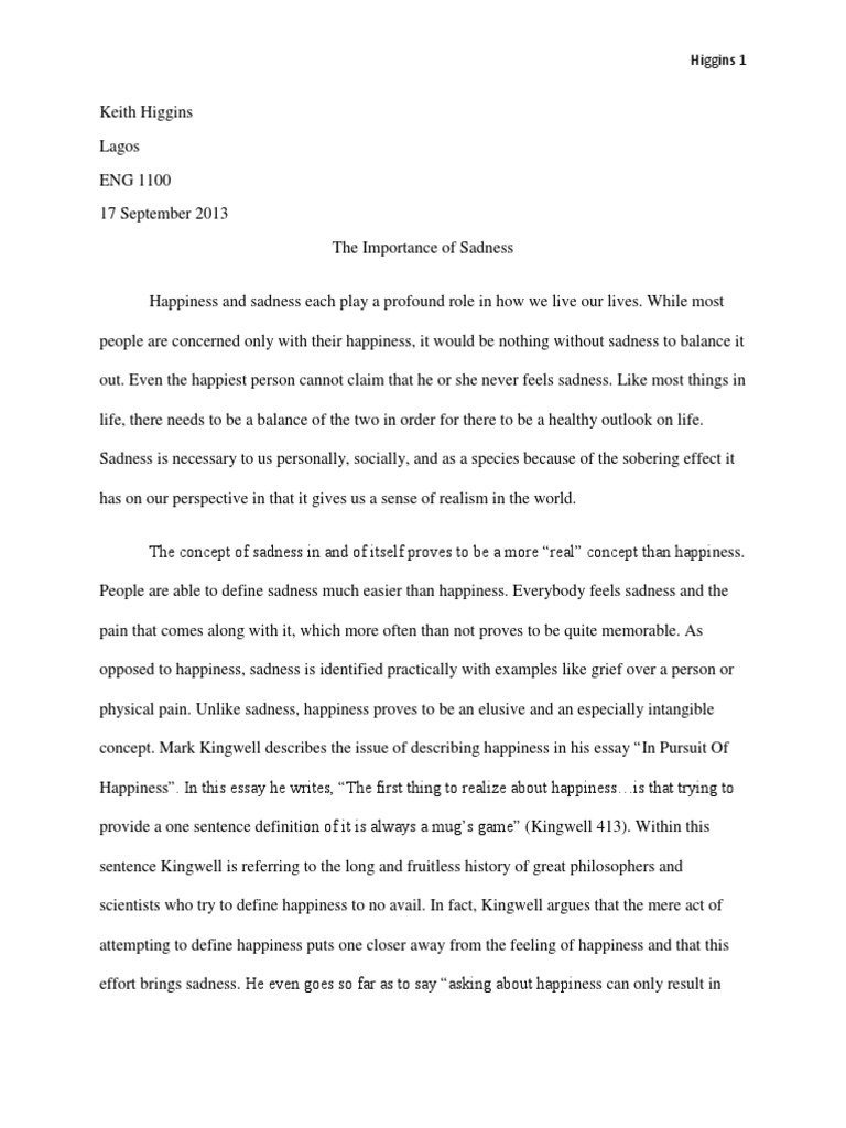 Sample Of English Essay  Types Of English Essays also Science Essay Lago Essay  Sadness Happiness Final Draft  Pessimism  Optimism Essay About English Class