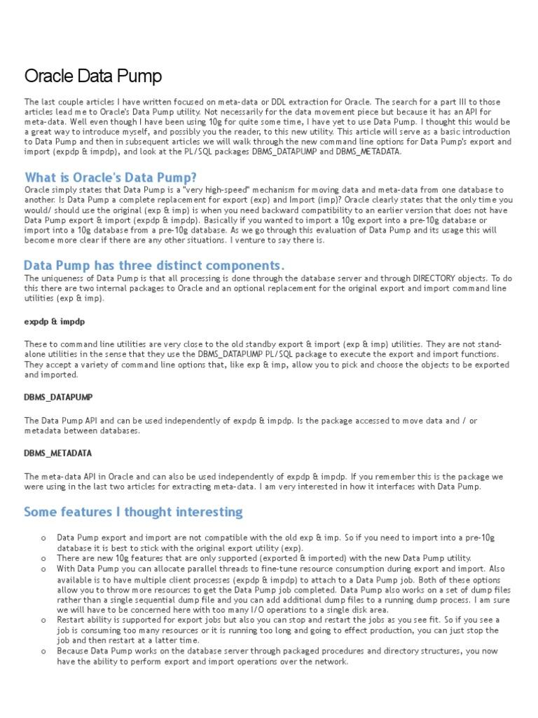 Oracle Data Pump   Oracle Database   Database Schema