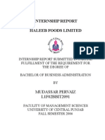 Haleeb Internship Report
