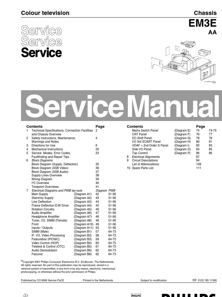 Philips Em3e Service Manual Menu Computing Television Wiring Diagram Jvc Kd S16 Besides Car Stereo Also