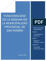 Funcionalidad de la DEMUNA en la Municipalidad Provincial de San Román