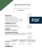 Evaluation Evaluation formForm
