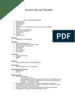 Darkroom Setup Checklist