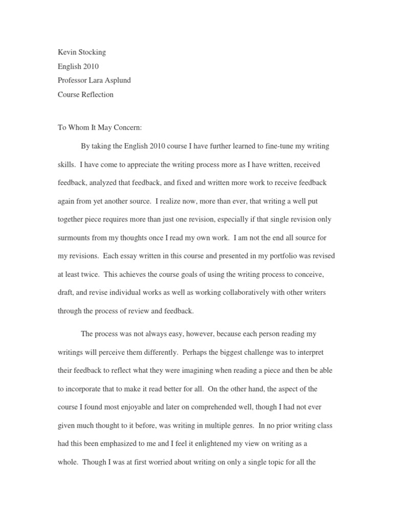 Topics For Argumentative Essays For High School  Essay On Healthcare also English Creative Writing Essays Kevin Stocking  Course Reflection  Genre  Essays Healthy Living Essay