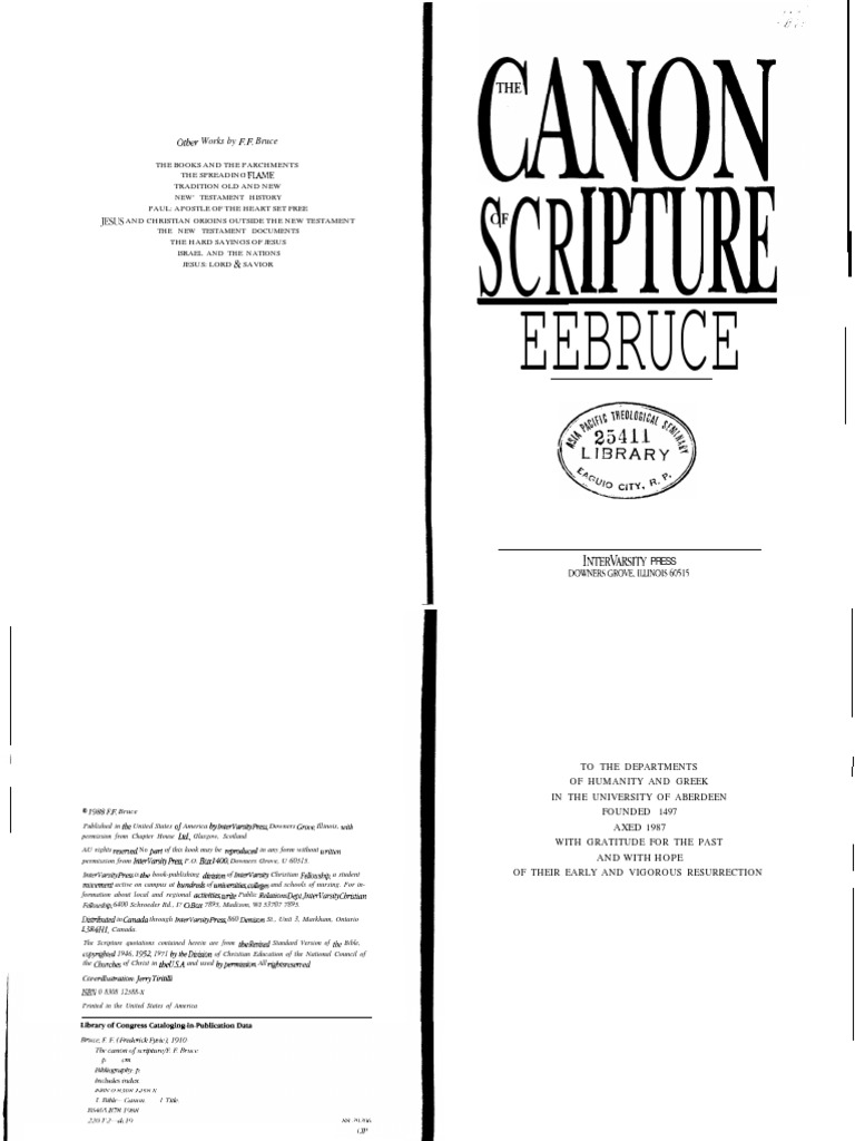 Ff bruce the canon of scripture biblical canon bible fandeluxe Images