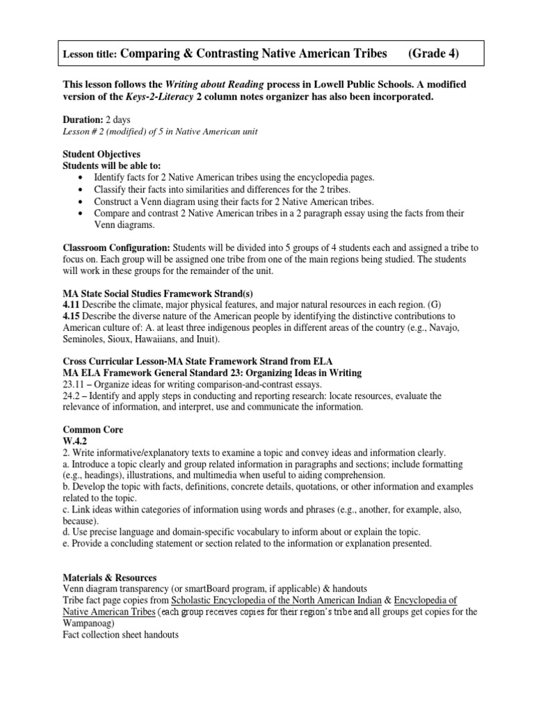 Native american tribes compare contrast lesson plan final grade 4 native american tribes compare contrast lesson plan final grade 4 native americans in the united states essays pooptronica Images