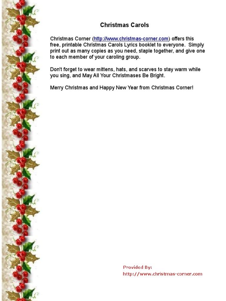 photograph about Christmas Carol Lyrics Printable Booklet called Xmas Carol Lyrics Printable Xmas Carols