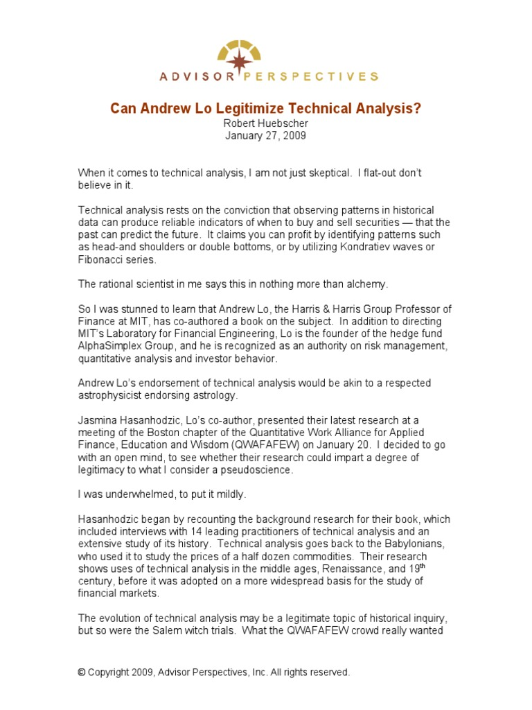 Can Andrew Lo Legitimize Technical Analysis   Technical