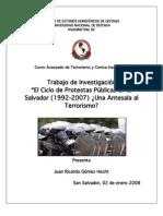 El Ciclo de Protestas Públicas en El Salvador (1992-2007) ¿Una Antesala al Terrorismo_