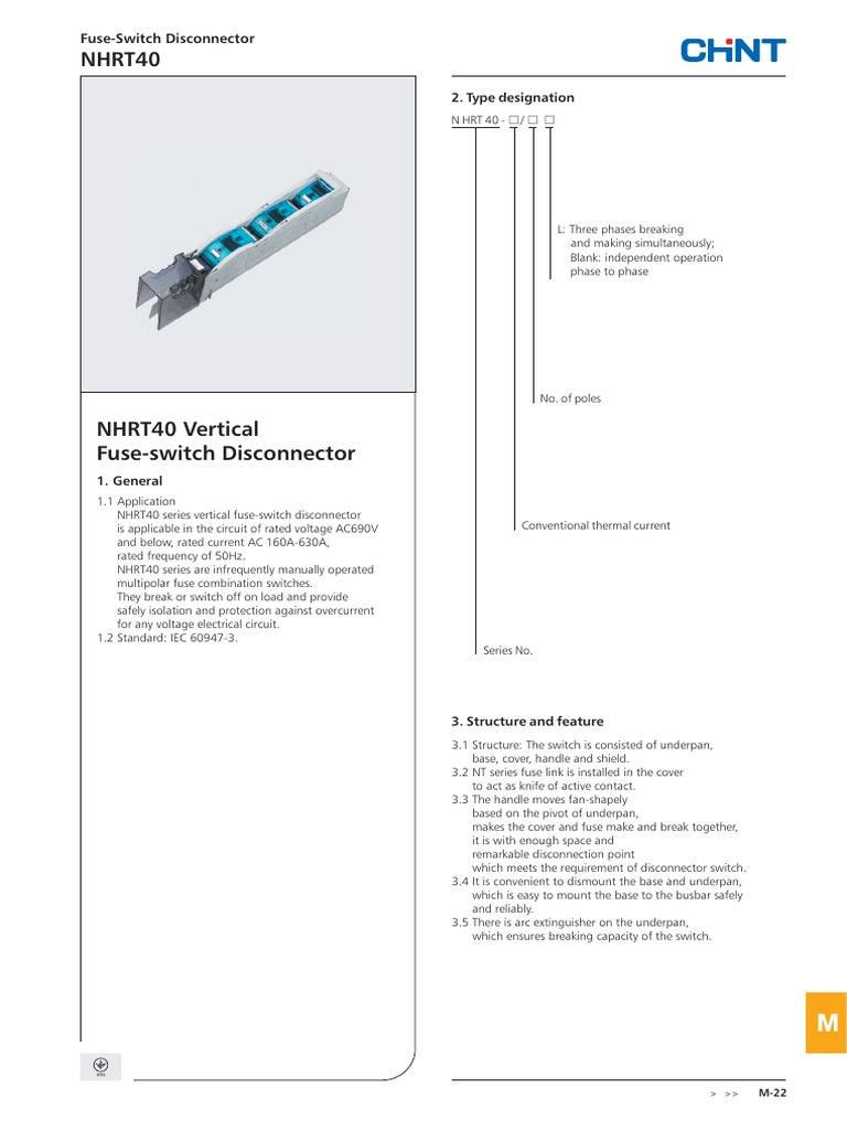Chint Nhrt40 Vertical Fuse Switch Disconnector Electricity Power Iec With Wiring Diagram Engineering