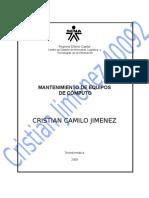 Mec40092evidencia025 Cristian Jimemez - Instalacion Basica de Sistema Operativo