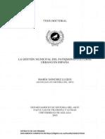 La gestión municipal del patrimonio cultural urbano en España