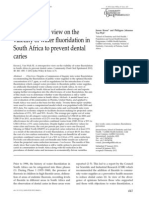 A Retrospective View on the Viability of Water Fluoridation in South Africa to Prevent Dental Caries