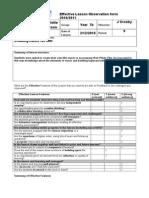 Effective Lesson Observation Form SLT 2010 2011
