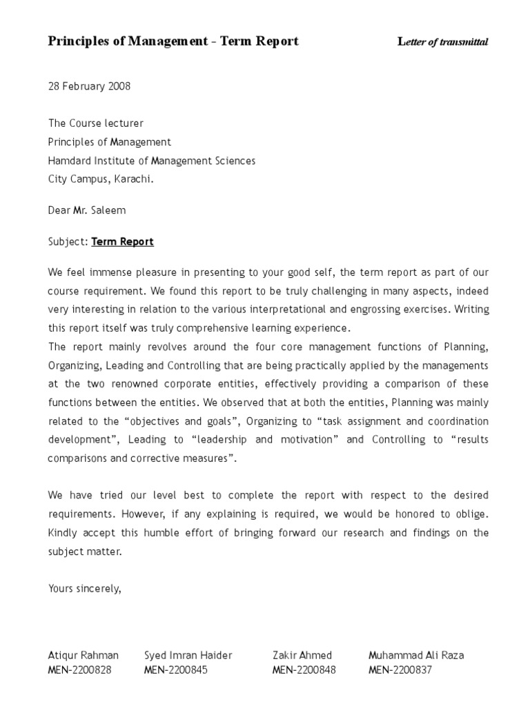 letter of transmittal for a report