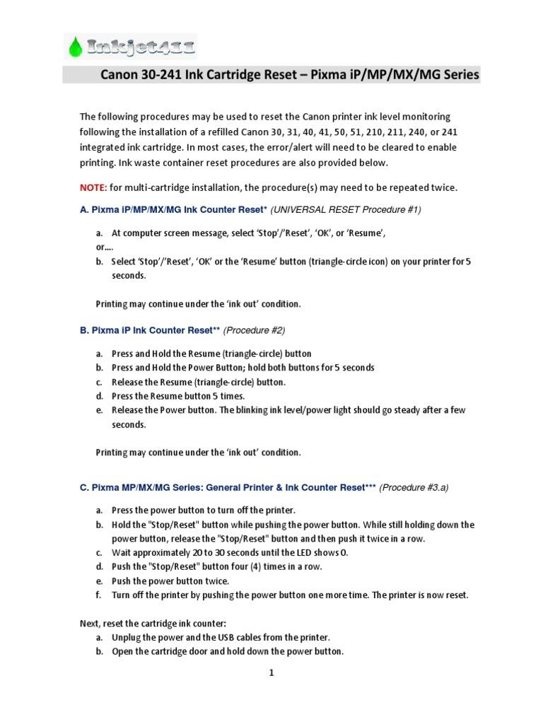 Canon Printer Reset Methods 3 Printer Computing Equipment