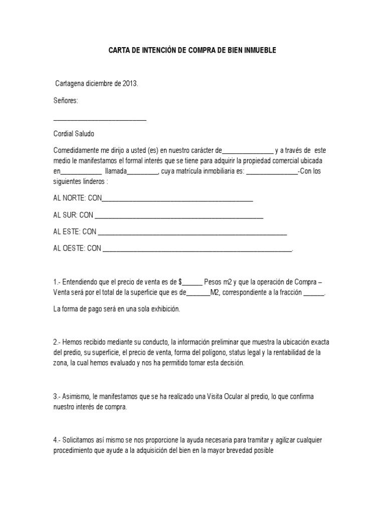 Carta de intenci n de compra de bien inmueble for Busco piso compra