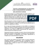 Declaración a favor de la prevención de las adicciones y en contra de la legalización de las drogas.