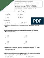 Avaliação  de Matemática EJA 8°e 9° ano