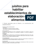 Requisitos Para Habilitar Establecimientos de Elaboracin de Alimentos