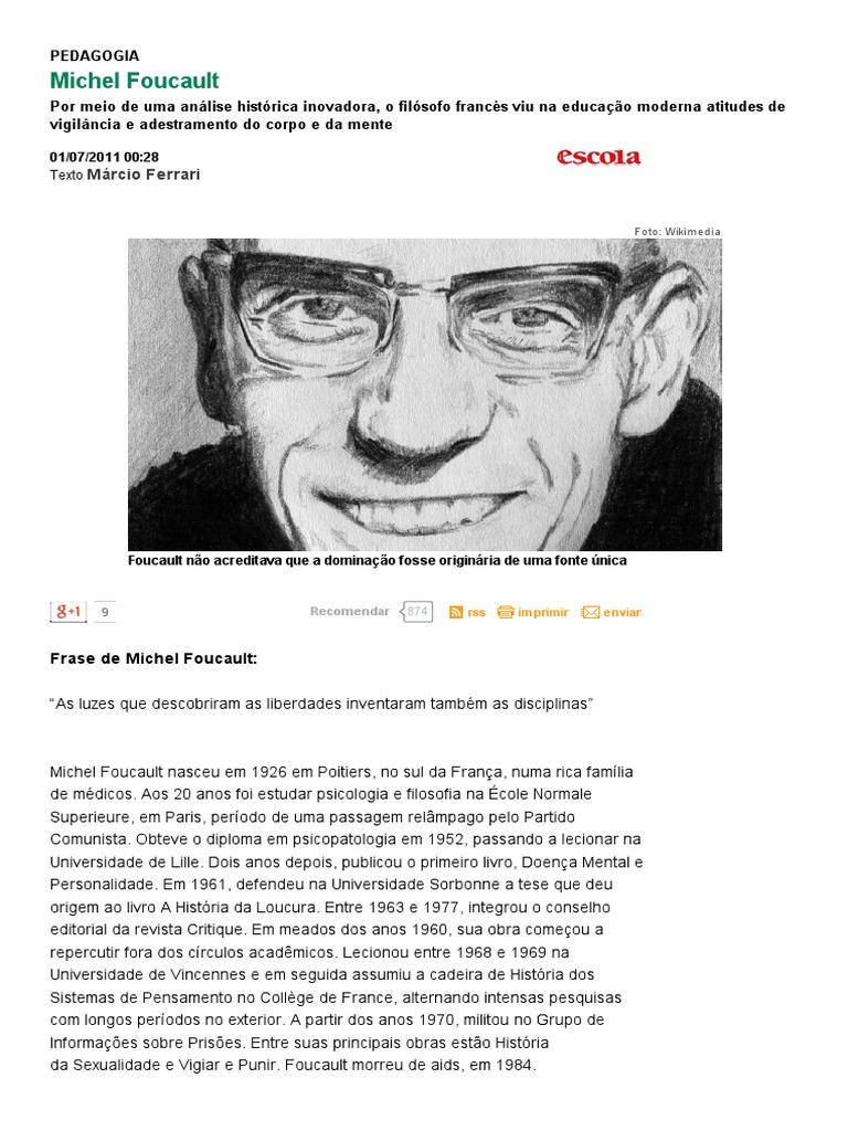 Michel Foucault Educar Para Crescer