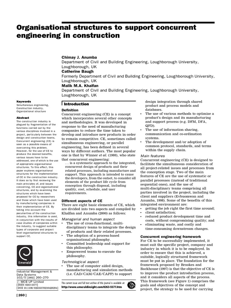 organisation structure to support concurrent engineering