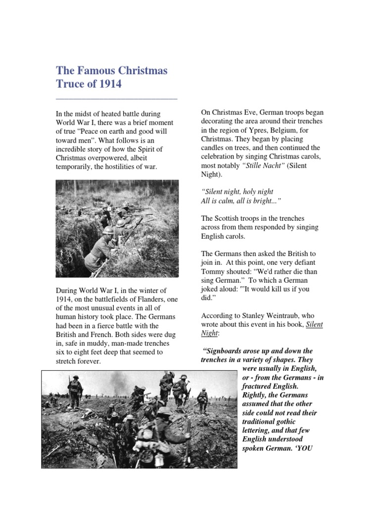 Christmas History In English.The Famous Christmas Truce Of 1914 Trench Warfare Christmas
